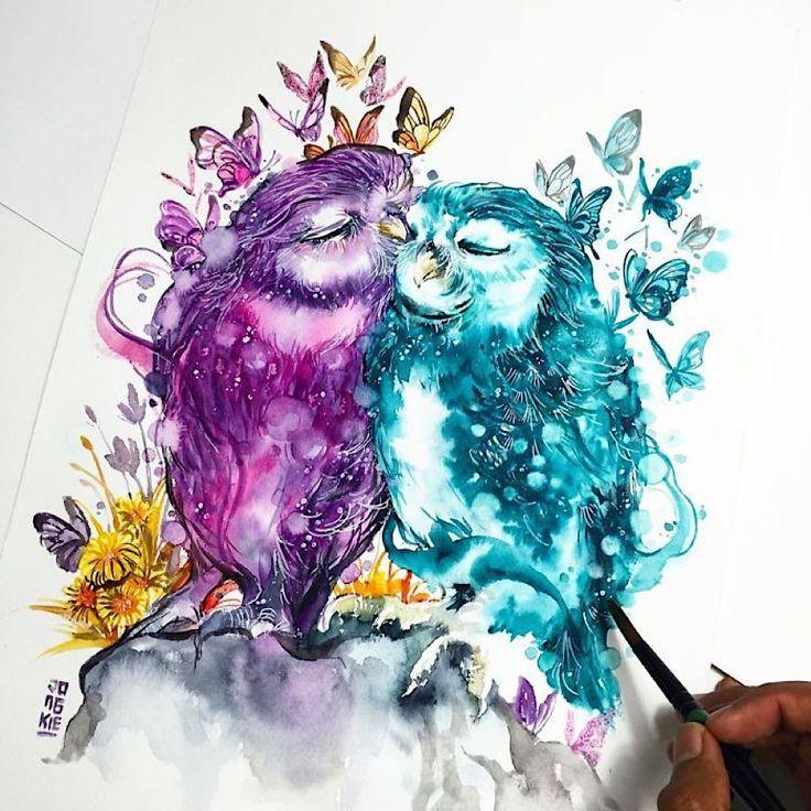 As aquarelas mostram os animais do seu lado comovente   – Malen und Zeichnen