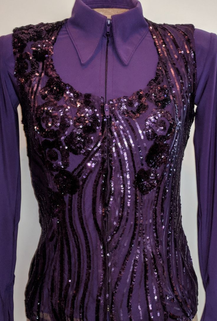 Show Diva Designs our new purple lycra plain fitted shirt and matching purple lace vest. Sizes xxx-small to 3XL showdivadesigns.com