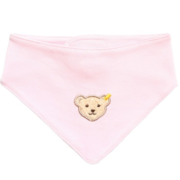 Steiff baby girls pale pink, bandanna style bib, made in a lightweight, soft cotton jersey. It has the designers iconic teddy bear face appliqué, on the front. At the back of the neck, there is a secure velcro fastener, ideal for keeping it in place during the day