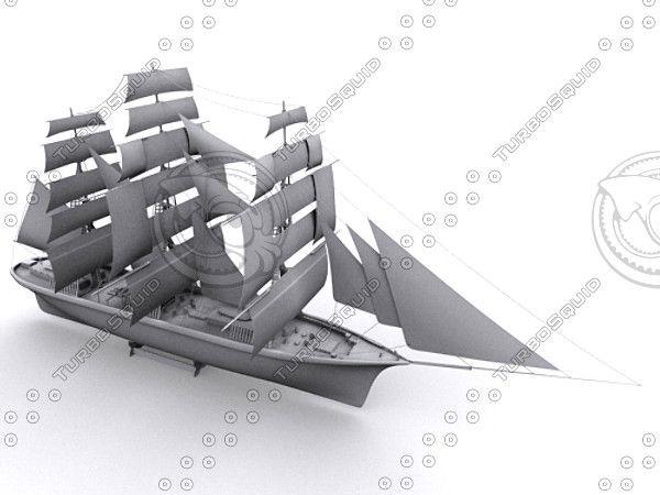 merchant ship 3d model - Merchant Boat... by ausz82