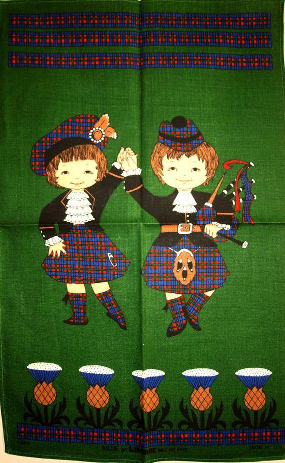 Scottish Kiltie Thistle Pure Linen Tea Towel  by FunkyKoala