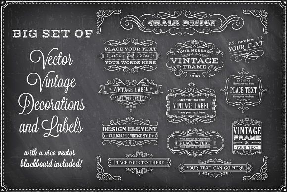 Vector Chalkboard Decorations by FourLeafLover on @creativemarket