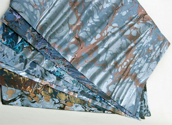 Ros Schell marbled papers
