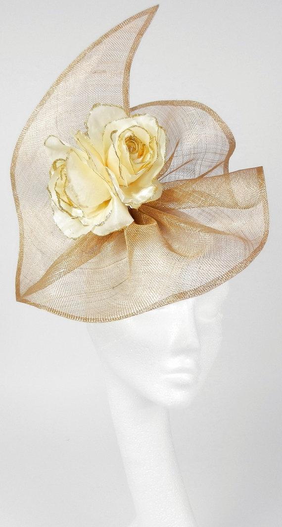 Metalic Gold  Fascinator Hat for Kentucky Derby by Hatsbycressida, $70.00