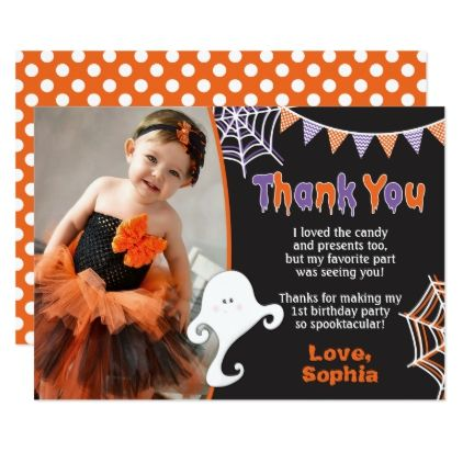 Halloween Birthday Thank You Card with Photo - invitations personalize custom special event invitation idea style party card cards