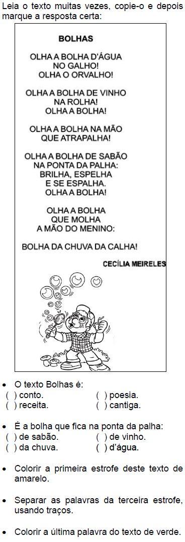 Texto BOLHAS, de Cecília Meireles