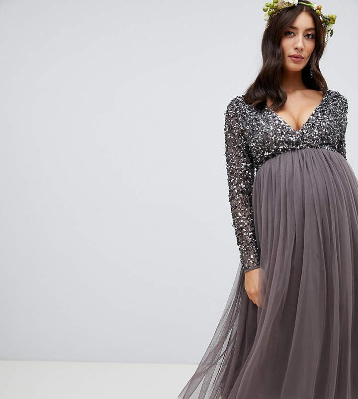 55336de0eaae4 Maya Maternity long sleeve wrap front midi dress with delicate sequin and  tulle skirt in charcoal