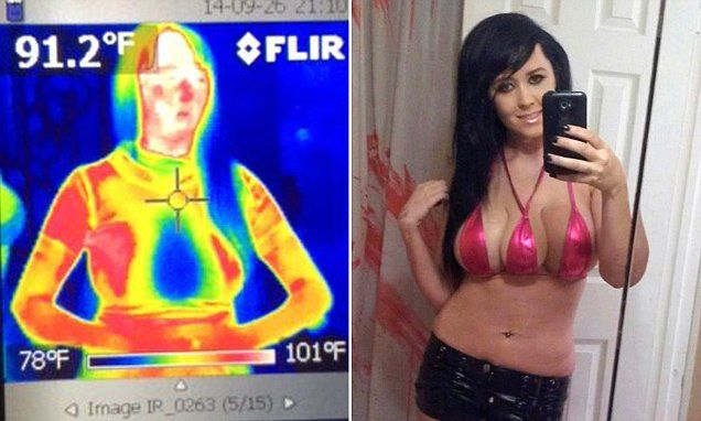 Footage taken using a thermal imaging camera has finally confirmed what nobody could really have doubted before: that Tampa, Florida, woman 'Jasmine Tridevil's' third breast is definitely a fake.