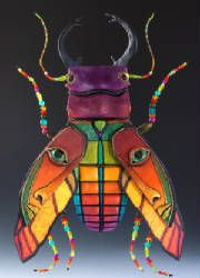 "Beetles, fish & other creatures by Mary L Hager, ""wood, paper, clay, wire, beads, fabric and paint in combination with the use of shape, form, texture, line and color"""