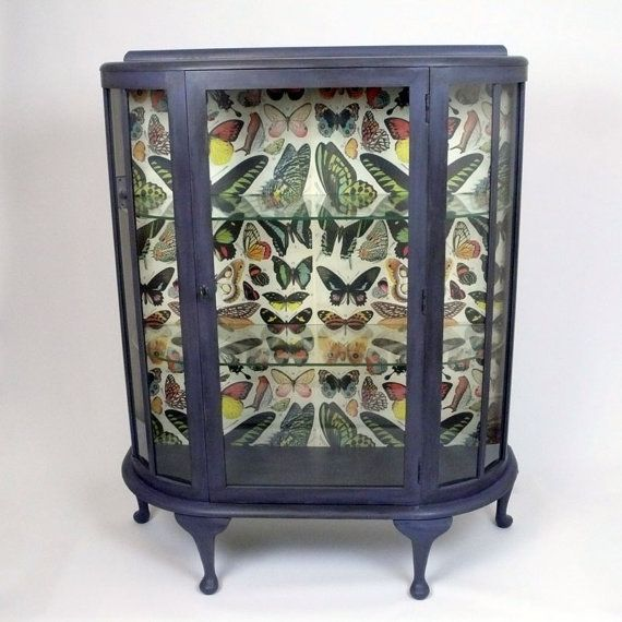 Glass Shelved Display Cabinet Hand Painted And By KitschAttic 28000