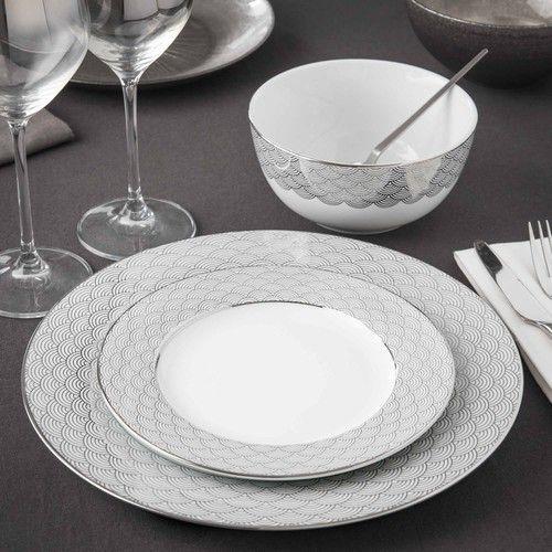 assiette plate motif vagues en porcelaine d 28 cm milady. Black Bedroom Furniture Sets. Home Design Ideas