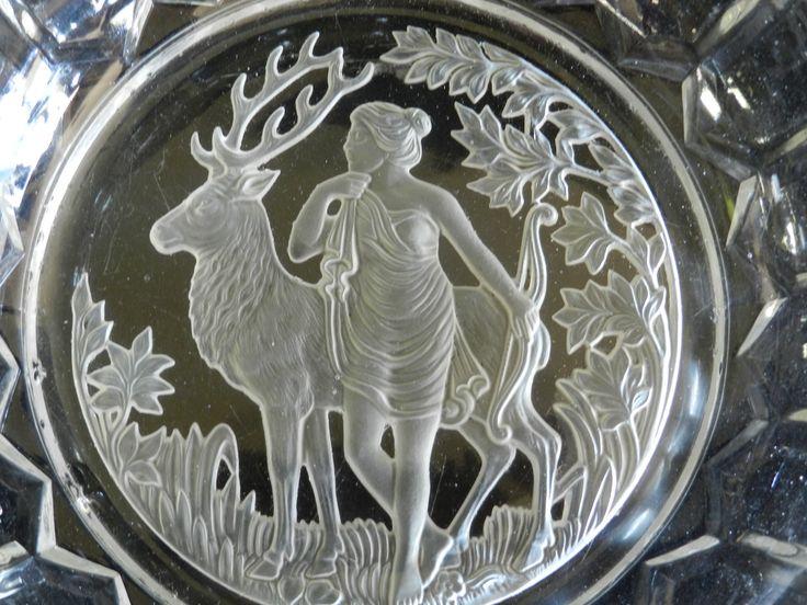 Etched Glass Based Serving Bowl Depicting Nature Goddess - Molded