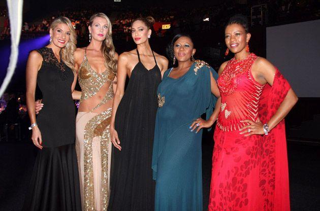 Johanna Mukoki and Basetsana Kumalo at the Miss SA pageant 2014