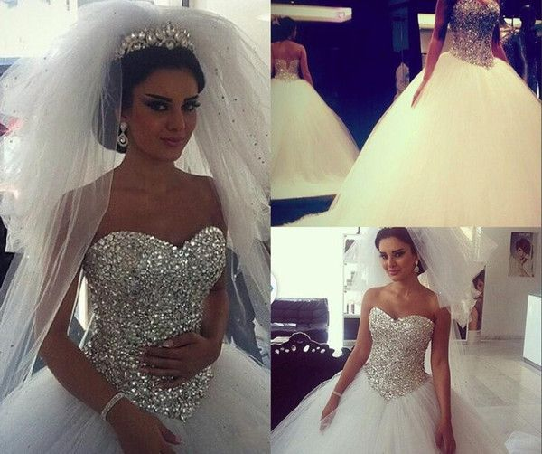 2015 Sparkling Wedding Dresses Ball Gown Puffy White With Crystals Rhinestones Tulle Arabic Bridal Gowns Real Image Fluffy Dress For Bridal Plus Size Ball Gowns Wedding Dresses Pnina Ball Gown Wedding Dresses From Yateweddingdress, &Price;| DHgate.Com