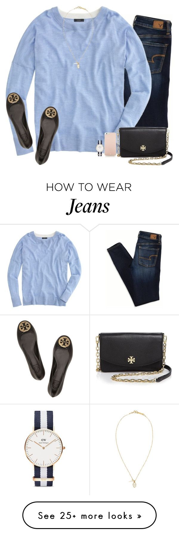 """""""A is for American Eagle jeans"""" by blakelyclairew on Polyvore featuring moda, American Eagle Outfitters, J.Crew, Isabel Marant, Tory Burch, Kate Spade i Daniel Wellington"""