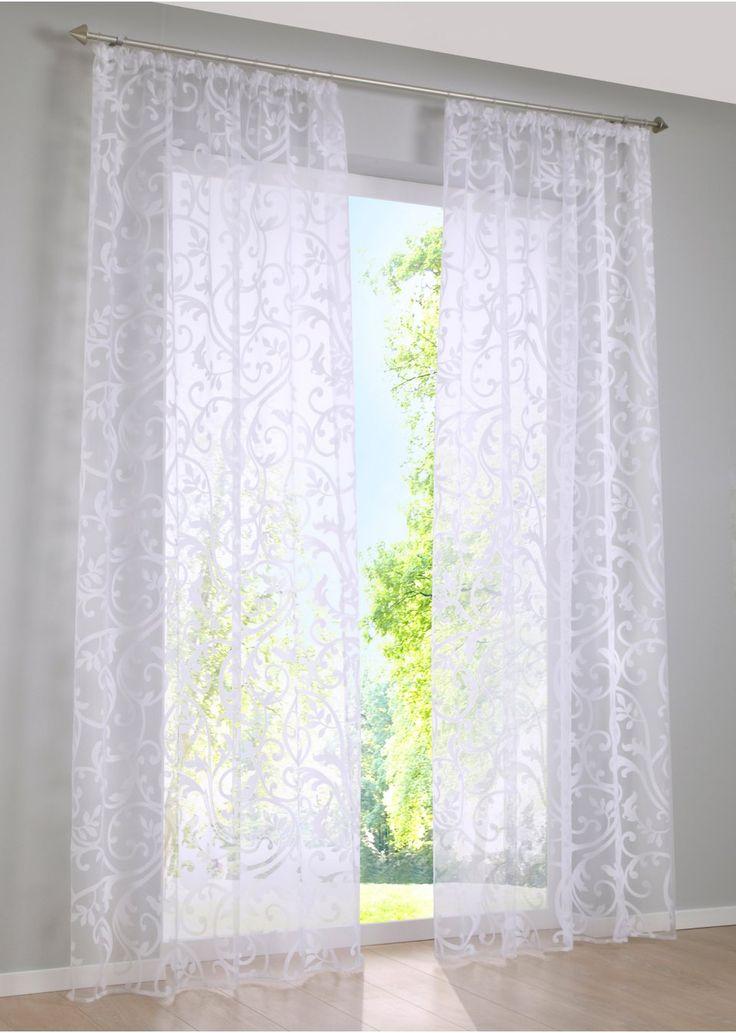 """Jetzt anschauen: Die transparente Gardine """"Roma"""" mit ihrem verspielten Ranken-Design ist in weiß erhältlich und somit zu vielen Wohnstilen passend. Die hochwertige Ausbrenner-Qualität zeichnet diese Gardine aus. Sie bietet leichten Sichtschutz und eine elegante Fensterdekoration. Die Musterung ist auf beiden Seiten sichtbar, sodass Ihr Fenster auch von außen besonders edel wirkt. Mit der Gardine """"Roma"""" zaubern Sie im Nu einen neuen Rahmen für Ihr Fenster."""