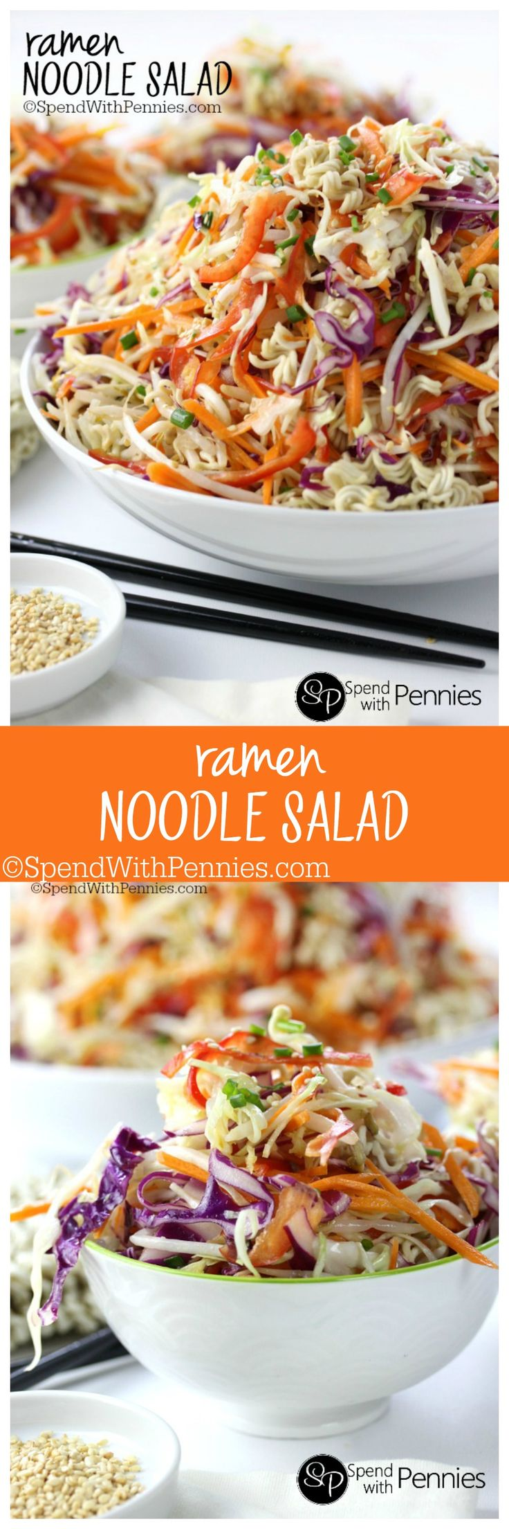 Oriental Ramen Noodle Salad! Crunchy cabbage & tons of yummy veggies with ramen noodles tossed in a quick sesame dressing. This is easy to make & a great summer side and perfect for bbqs! You can u