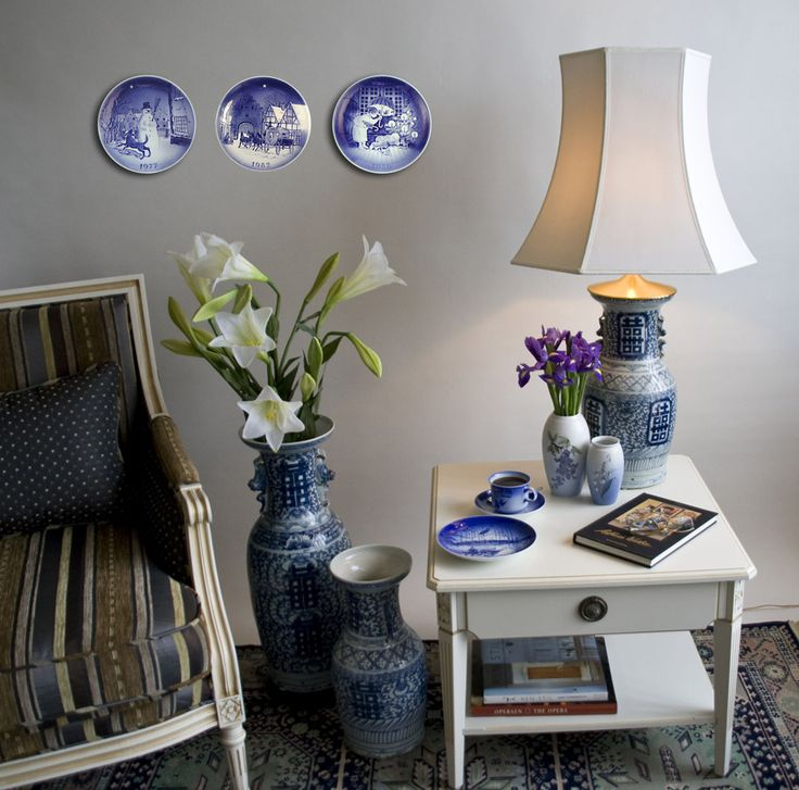 Wall decorated with Danish Blue Porcelain plates with Hans Christian andersen motifs