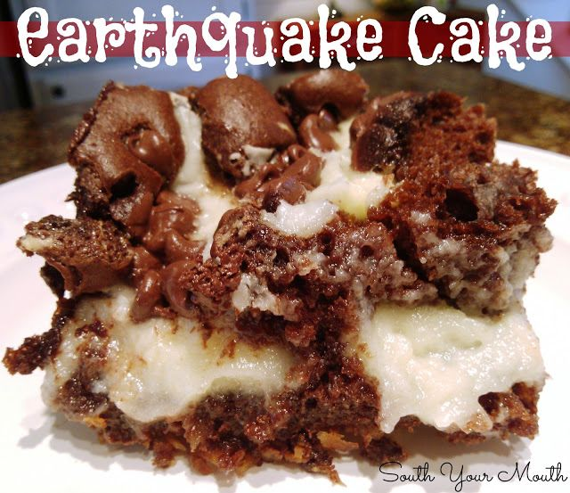 Earthquake Cake... a moist, delicious cake you don't have to frost because the ooey-gooey cream cheese mixture becomes a frosting explosion that cracks the cake apart. Hence the name!!