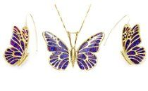 Gold Butterfly Jewelry Set - Purple Necklace and Earrings - Luxury Gifts for Her