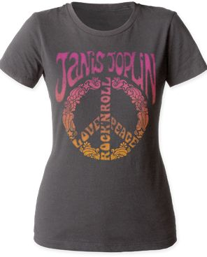 A women's soft fitted 30/1 cotton Crew tee featuring a Janis Joplin graphic on front. Heavy Metal Grey.