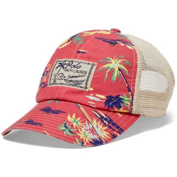 Polo Ralph Lauren Printed Mesh Trucker Hat ($50) ❤ liked on Polyvore featuring men's fashion, men's accessories, men's hats, mens mesh hats, mens beach hat and polo ralph lauren mens hats