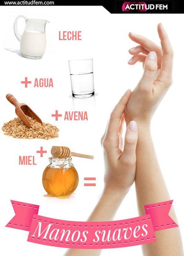 Remedio natural para lograr unas manos suaves. #remediosnaturales #infografia