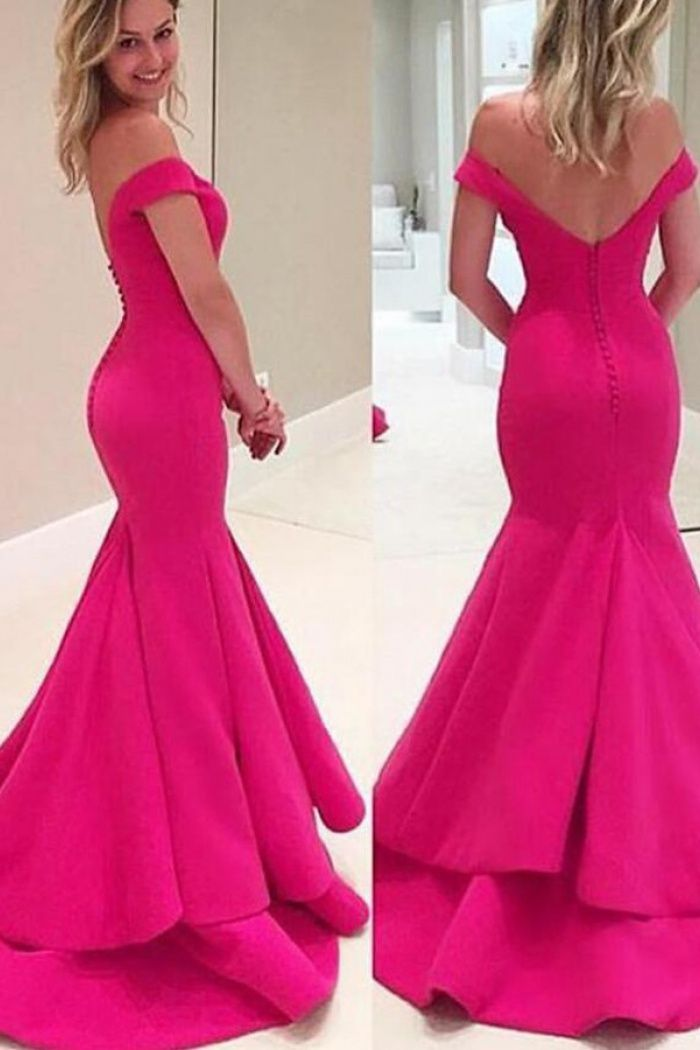 03a1060accd Mermaid Off-the-Shoulder Sweep Train Tiered Fuchsia Prom Dress with Ruffled  1