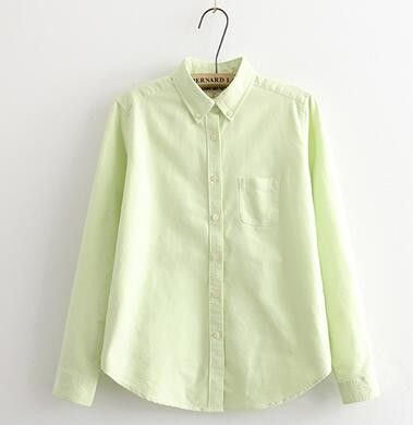 Womens Blouses Plus Size Casual Tops 2016 spring autumn women preppy style Oxford cloth white pockets female long sleeve shirts