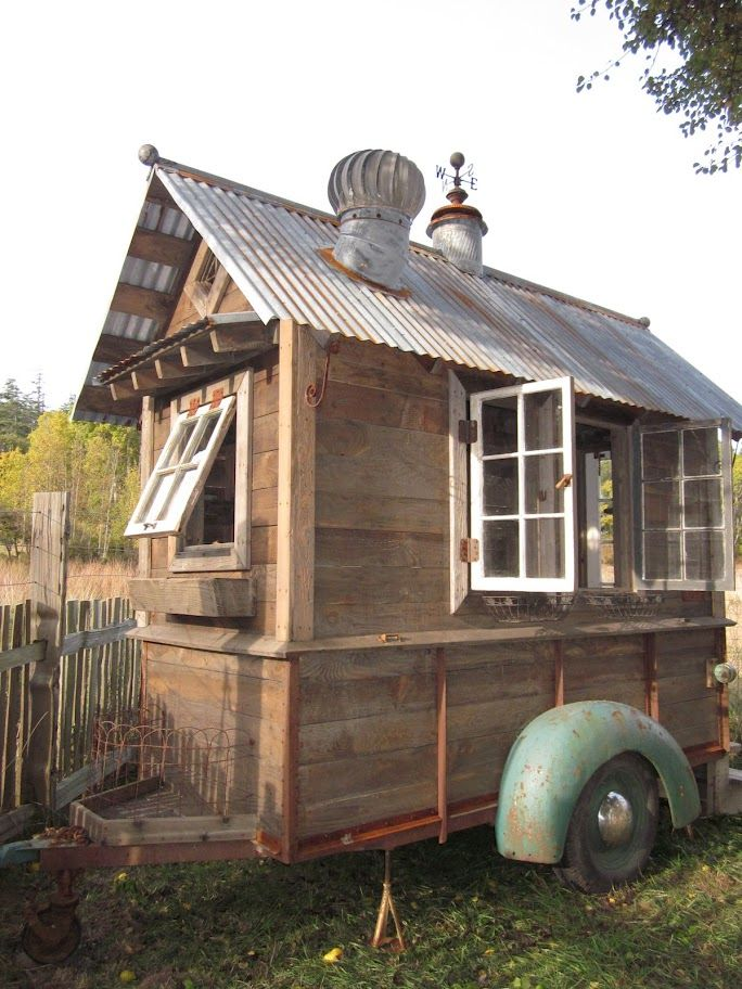 mobile garden shed made from reclaimed materials.