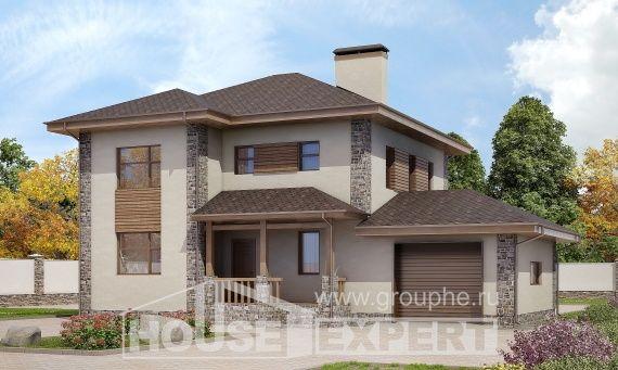 185-004-П Проект двухэтажного дома, гараж, простой коттедж из керамзитобетонных блоков
