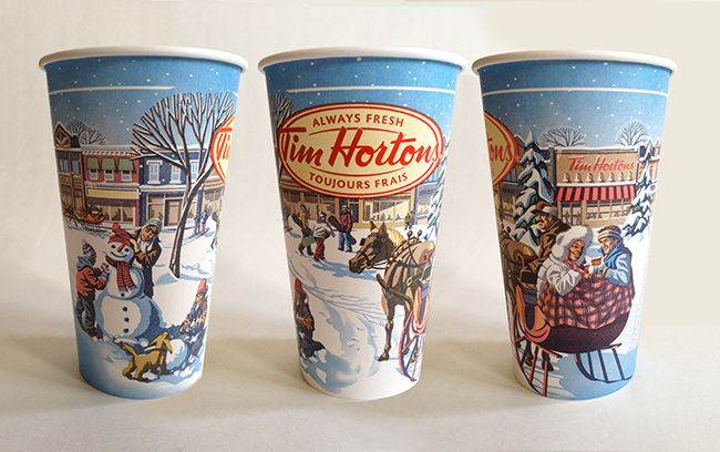 Tim Horton's holiday series packaging llustration by ©Gary Alphonso. Represented by i2iart.com #i2iart