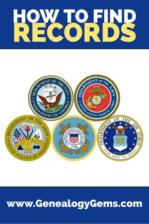 5 BRANCHES OF US MILITARY RECORDS FOR GENEALOGY  Feb 19, 2018 | 01 What's New, Military, United States | 1 Comment    Finding US military records for genealogy depends on which of the five branches your relative served in: Army Navy Air Force Marines or Coast Guard. Here, military expert Michael Strauss introduces each one and tells us where to look for their records, both online and...