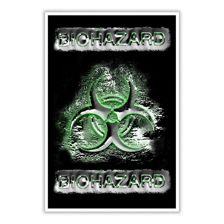 Biohazard warning green and silver toxic fallout sign symbol poster quicksilver 3d effect