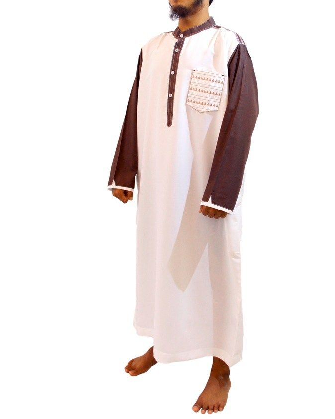 Jubah Muslim Pria – Gamis Pria Modern Samase Warna Putih-Coklat Lengan Panjang Kerah Shanghai