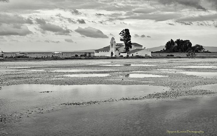 Monochrome,Black & White, Landscape, Photography, Greece, Corfu, Islands, Sea, Monastery, Rocks