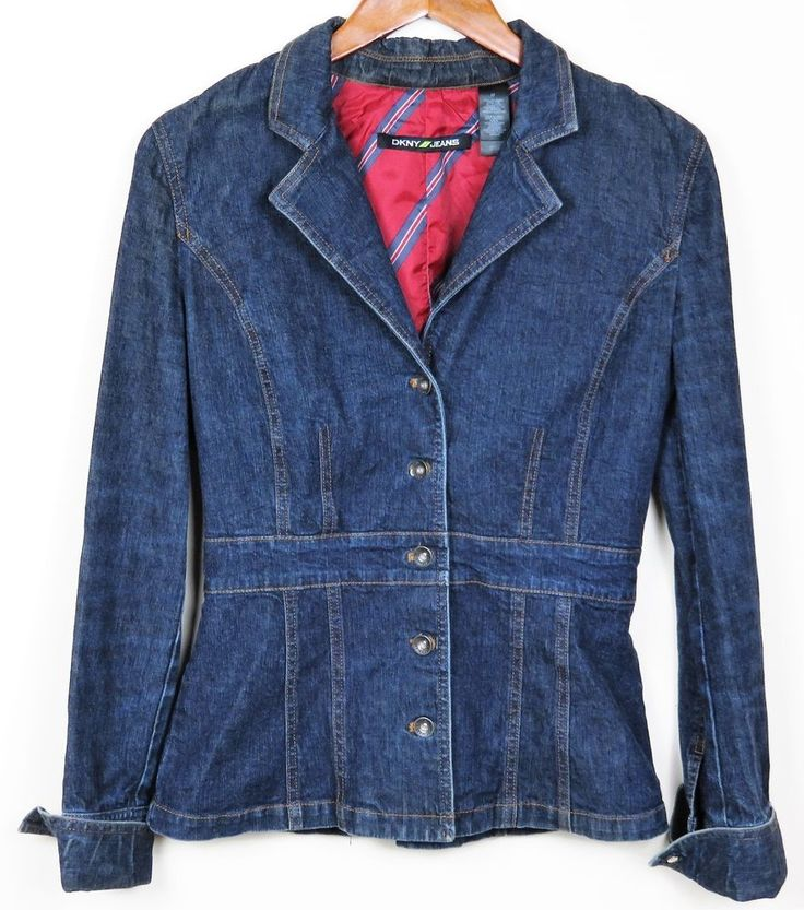 DKNY Fashion Fitted Denim Blazer Jean Jacket Stretch Cotton Work Casual Size S #DKNY #JeanJacketBlazer