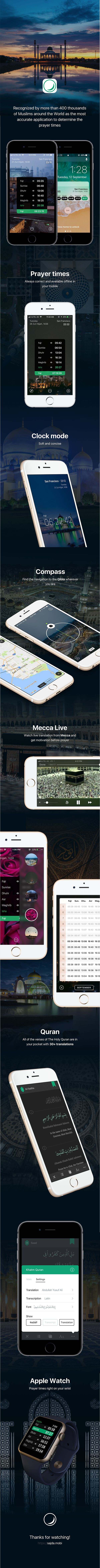 Muslim app, Sajda - Prayer times, Quran, Azan & Qibla - recognized by more than 400 thousands of Muslims of Central Asia as the most accurate application to determine the prayer times, including Azan, the direction of Qibla, Islamic Hijri calendar, beautiful Quran reading and so on.  Features: Islamic app Quran app Salat times app Qibla direction Compass Mecca live