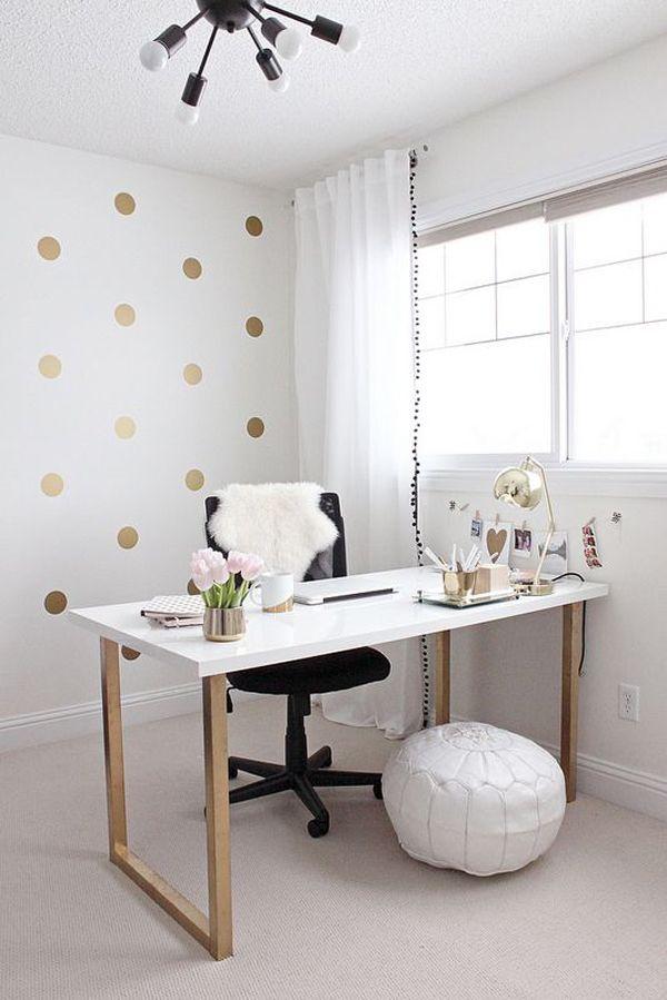 Pretty white home office ideas...