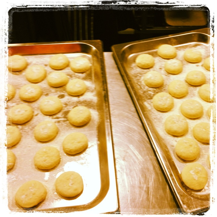 Baking buns for our mini burgers