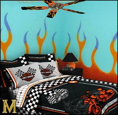Harley Davidson Paint Colors | +walls-harley+davidson+theme+bedrooms-flames+walls-harley+davidson ...