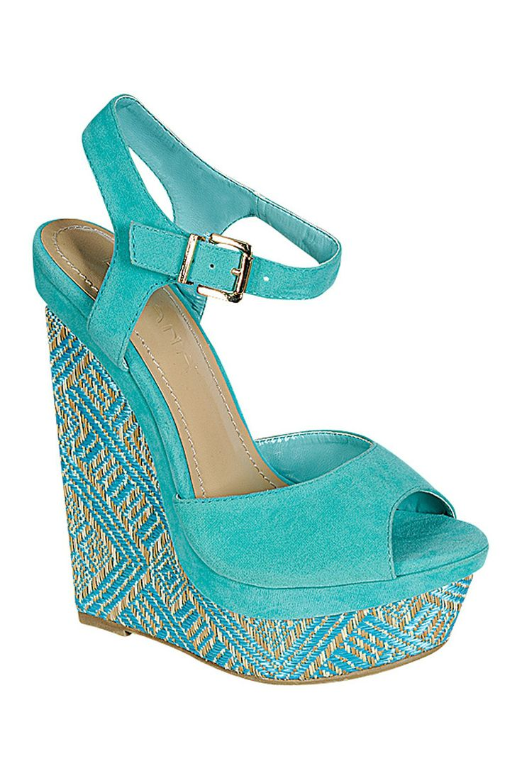 Bright teal wedges