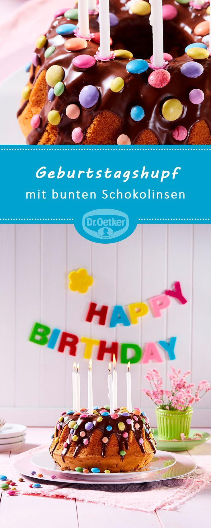 Geburtstagstasse: Einfache Torte mit bunten Schokobohnen #happybirthday #selver …   – Geburtstagskuchen-Rezepte
