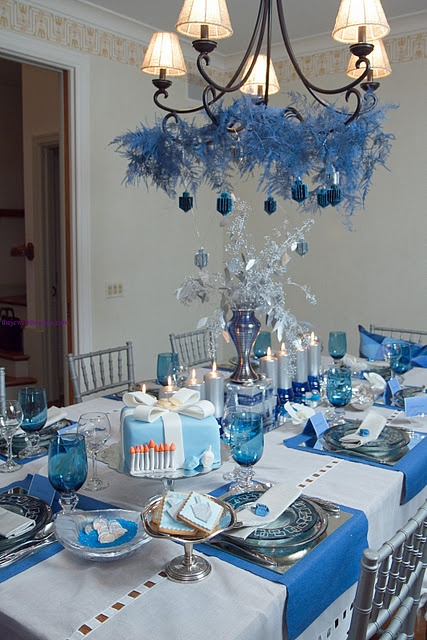 Chanukah tablescape--wtf is on the chandelier? The rest is lovely.
