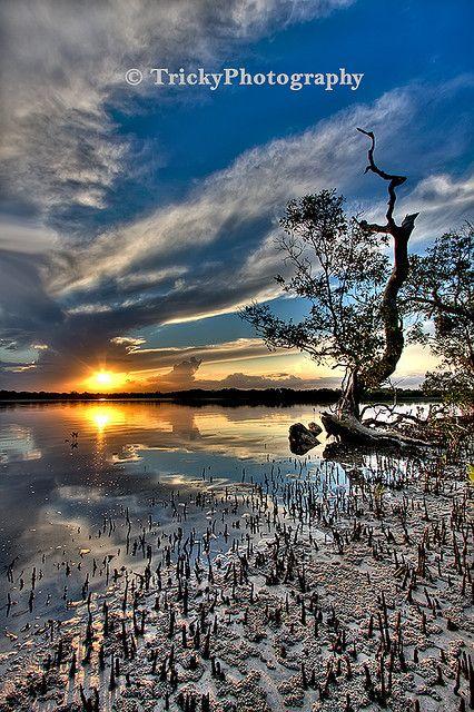 "Sunset over ""Two Rivers"" near Iluka, northern NSW, Australia."