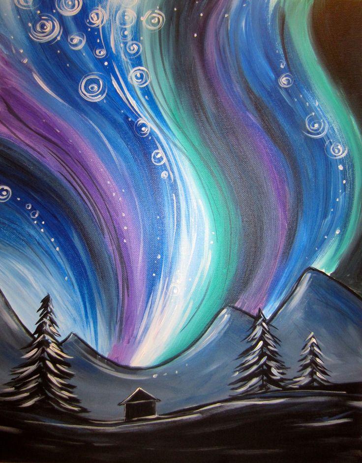 Shades of blue purple sky & trees art