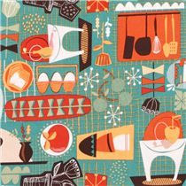 teal cup dishes kitchen fabric Kitschy Kitchen USA - Food Fabric - Fabric