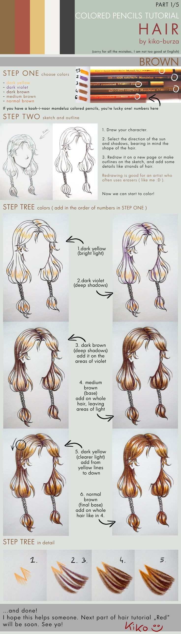 Colored pencils tutorial HAIR part 1 by kiko-burza.deviantart.com on @deviantART