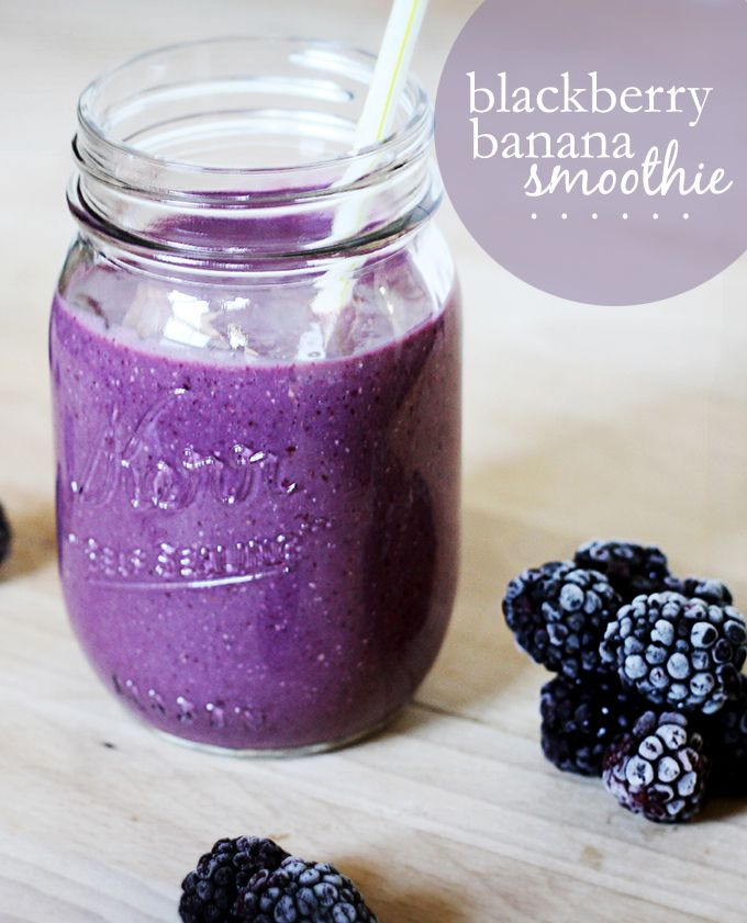 Blackberry Banana Bliss Smoothie1 cup frozen blackberries ½ small banana (frozen, then softened slightly before using) ½ cup milk of choice 2-3 drops vanilla sweetener to taste