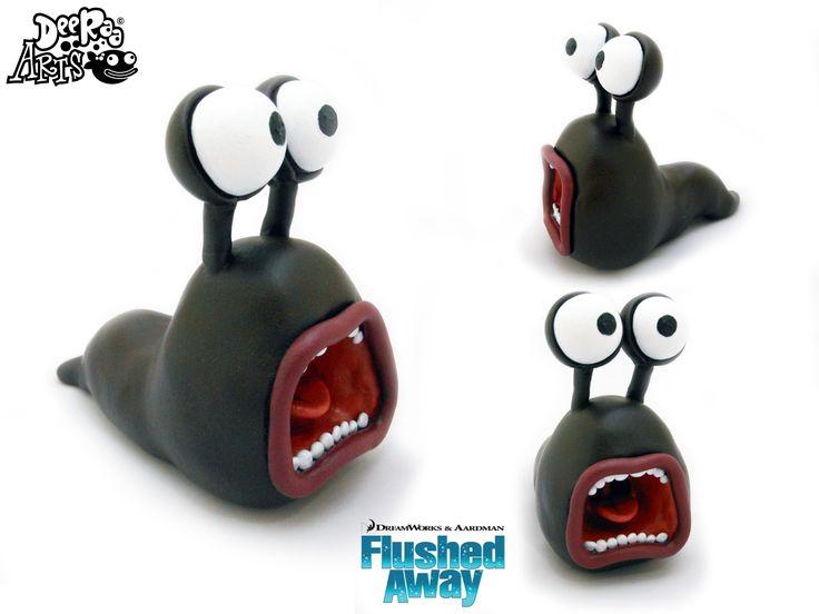 Dee Raa Arts polymer clay sculpey fimo slug Slug flushed away Flushed Away aardman nick park Nick Park cute screaming slug